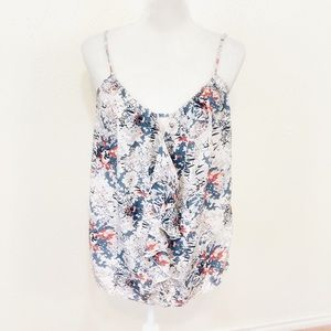 Anthro Lilka Gray Floral Ruffle Front Cami Tank